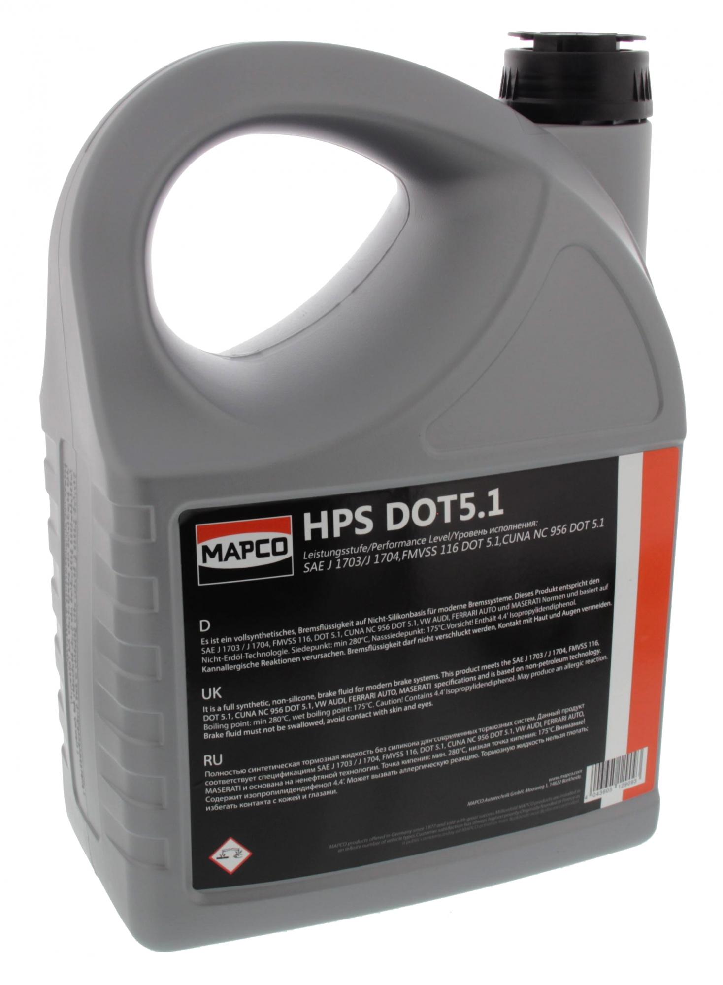 MAPCO 9051/3 Bremsflüssigkeit DOT 5.1 synthetisch (5 Liter)