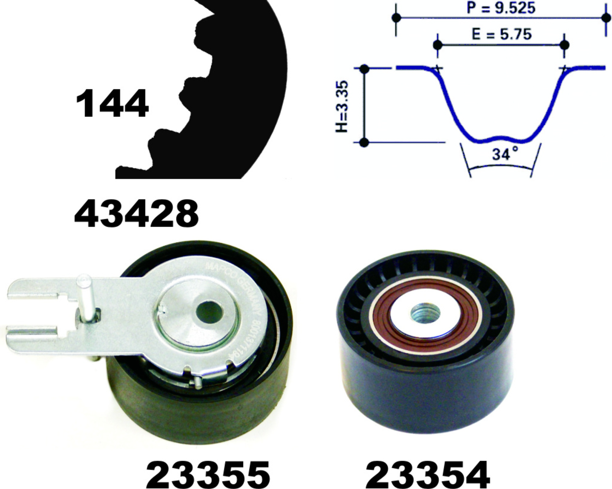 Mapco 23400 Timing Belt Kit